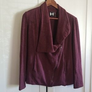 H by Bordeaux fleece moto style jacket m-p